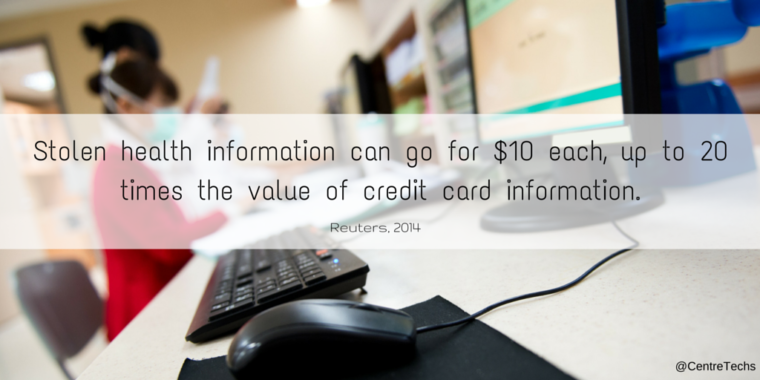 Stolen health information can go for $10 each, up to 20 times the value of a credit card.